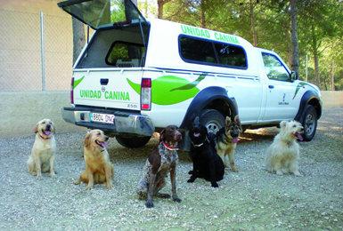 Perros de la patrulla canina especializada en la detección de venenos que opera en Castilla-La Mancha desde 2007 (foto: Junta de Castilla-La Mancha).