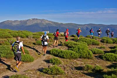 Varios corredores recorren la Cuerda Larga, en el Parque Nacional de la Sierra de Guadarrama, durante el Gran Trail de Peñalara en su edición de 2014 (foto: Julio Vías).