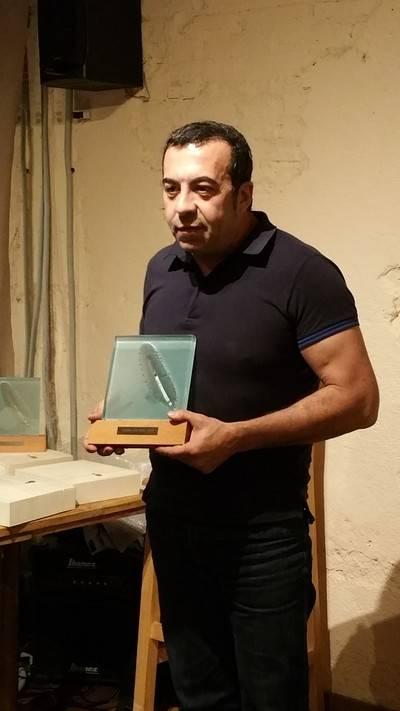 Ezequiel Navío, coordinador de la OAG del Cabildo de Lanzarote, recoge el Premio Vía Apia 2014.