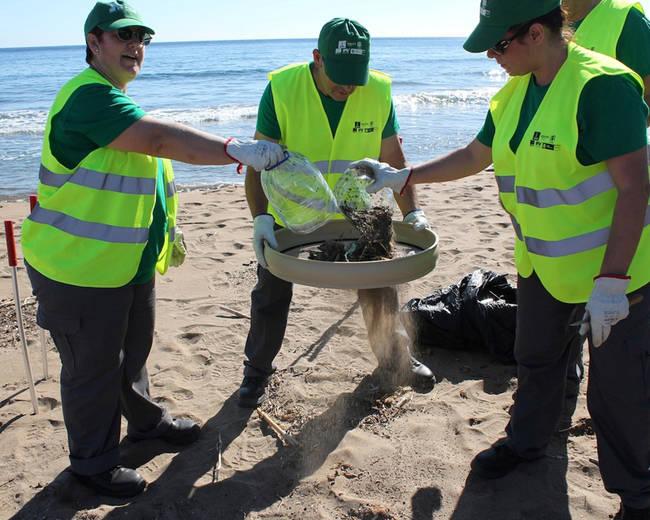 Varios voluntarios examinan los residuos recogidos en una playa (foto: Magrama).