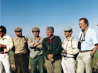 De izquierda a derecha, Manuel Fernández Cruz, Jesús Vozmediano, Beltrán de Ceballos, José María Blanc, Javier Castroviejo y Antonio Camoyán, durante la presentación del proyecto del Lucio del Cangrejo (Doñana) en 1991.