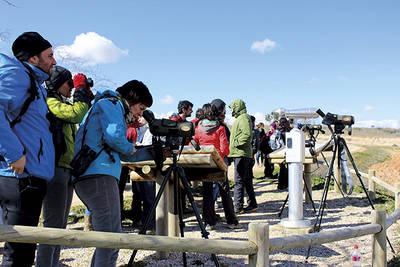 Un grupo de ecoturistas disfruta de una jornada de observación de aves en la laguna conquense de El Hito (foto: Nuria Chacón).