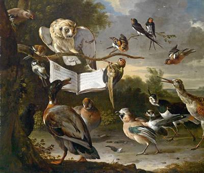 Concierto de aves (Melchior d�Hondecoeter, c. 1670). �leo sobre lienzo (Viena, colecci�n privada).