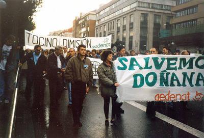 Manifestación en defensa de Doñana en Madrid en mayo de 1998 (foto: archivo de Ecologistas en Acción).