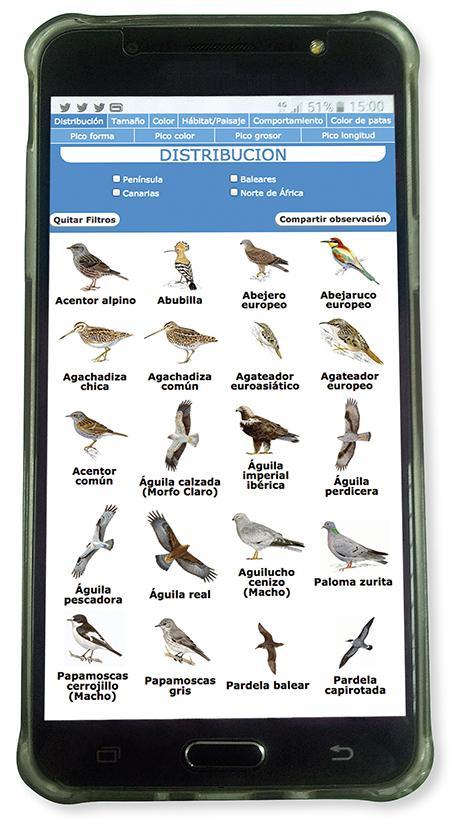 """Aspecto de la app """"Identificador de aves"""", desarrollada por SEO/BirdLife."""