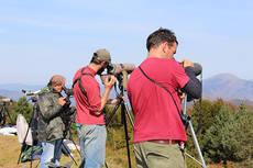 Ornitólogos siguen el paso postnupcial de las aves desde un collado pirenaico (foto: Lindus 2).