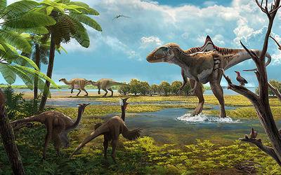 Hace 126 millones de años el yacimiento de Las Hoyas (Cuenca) era un humedal subtropical visitado por varias especies de dinosaurios (ilustración: Óscar Sanisidro).