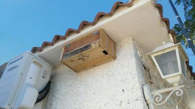 Caja nido para vencejos instalada en la fachada de una casa (foto: Fernando Calderón).