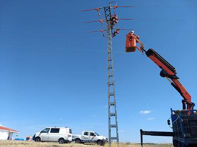 Un operario durante el aislamiento de uno de los apoyos del tendido eléctrico corregido en Valdepiélagos (Madrid). Foto: GREFA.