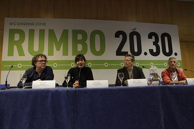 Integrantes de la primera mesa redonda sobre conservación de la biodiversidad. De izquierda a derecha: Enrique Segovia, Asunción Ruiz, Rafael Serra y Fernando Valladares (foto: Conama).