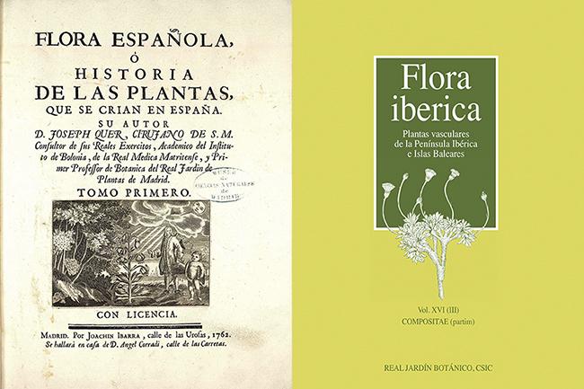 Frontispicio del primer tomo de la Flora Española de José Quer, publicado en 1762, y portada del último volumen de Flora iberica publicado hasta el momento, con el que se completa la familia de las Compuestas, la más rica en géneros y especies de la obra.