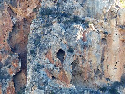 Emplazamiento del antiguo nido de quebrantahuesos en una cavidad de sierra de la Cresta del Gallo, cerca de la ciudad de Murcia (foto: Francisco Montoro).