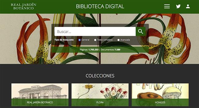 Página de inicio de la web de la Biblioteca Digital del Real Jardín Botánico.