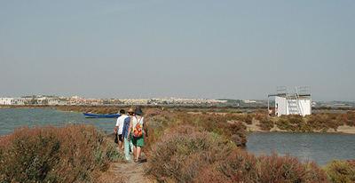 Varias personas pasean por el entorno de la bahía de Cádiz (foto: Salarte).