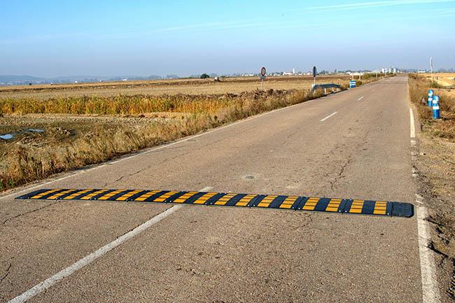 Badenes reductores de velocidad instalados en el tramo de carretera considerado como punto negro de atropellos de fauna en la Zona Regable Centro de Extremadura  (foto: Domingo Rivera).