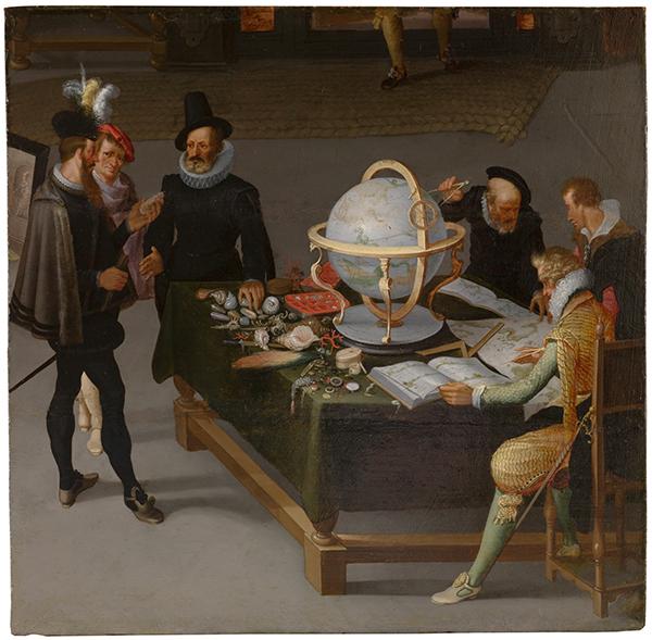 Cuadro El geógrafo y el naturalista, del pintor flamenco Adriaen Van Stalbent, perteneciente a los fondos del Museo del Prado.