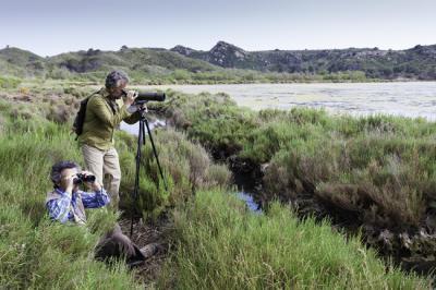 Dos observadores de aves en una zona húmeda de Menorca.