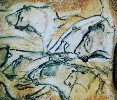Leones pintados en la cueva de Chauvet (Francia) hace entre 36.000 y 30.000 años (foto: Wikimedia Commons).
