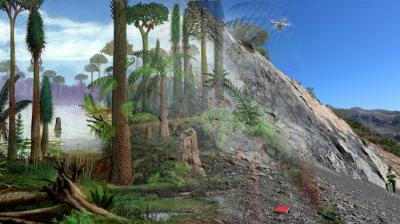 Recreación del bosque fósil de Alejico (izquierda) junto a una vista actual del yacimiento (derecha).