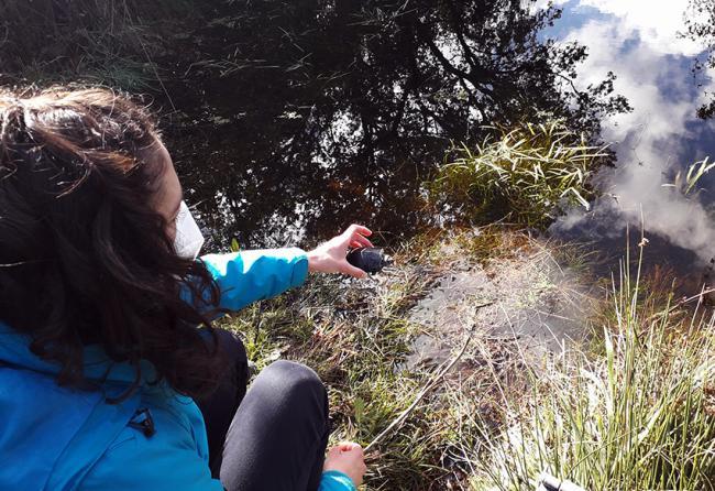 Momento de la liberación el pasado otoño de un galápago europeo en el Parque Regional de la Cuenca Alta del Manzanares (foto: Grefa).