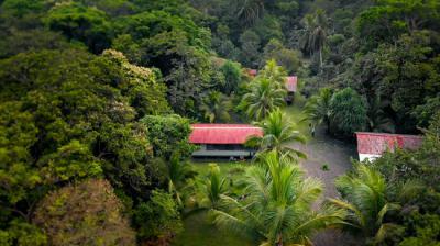 Vista aérea de una de las estaciones científicas de la Reserva Pacuare (foto: Batsù Estudio).